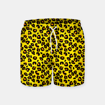 Lemon Yellow Leopard Spots Animal Print Pattern Swim Shorts imagen en miniatura