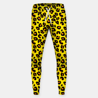 Lemon Yellow Leopard Spots Animal Print Pattern Sweatpants imagen en miniatura