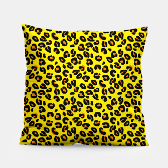 Lemon Yellow Leopard Spots Animal Print Pattern Pillow imagen en miniatura
