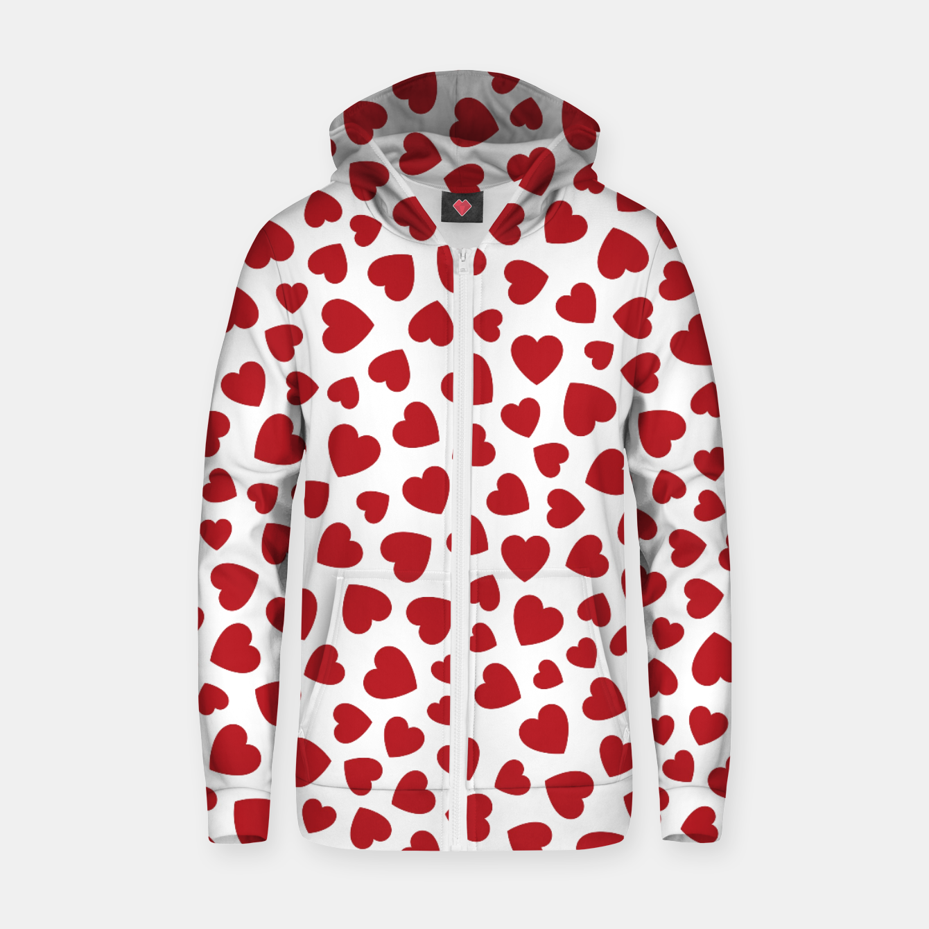 Image of Whole Lotta Love Hearts Pattern Zip up hoodie - Live Heroes