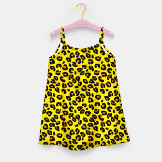 Lemon Yellow Leopard Spots Animal Print Pattern Girl's dress imagen en miniatura