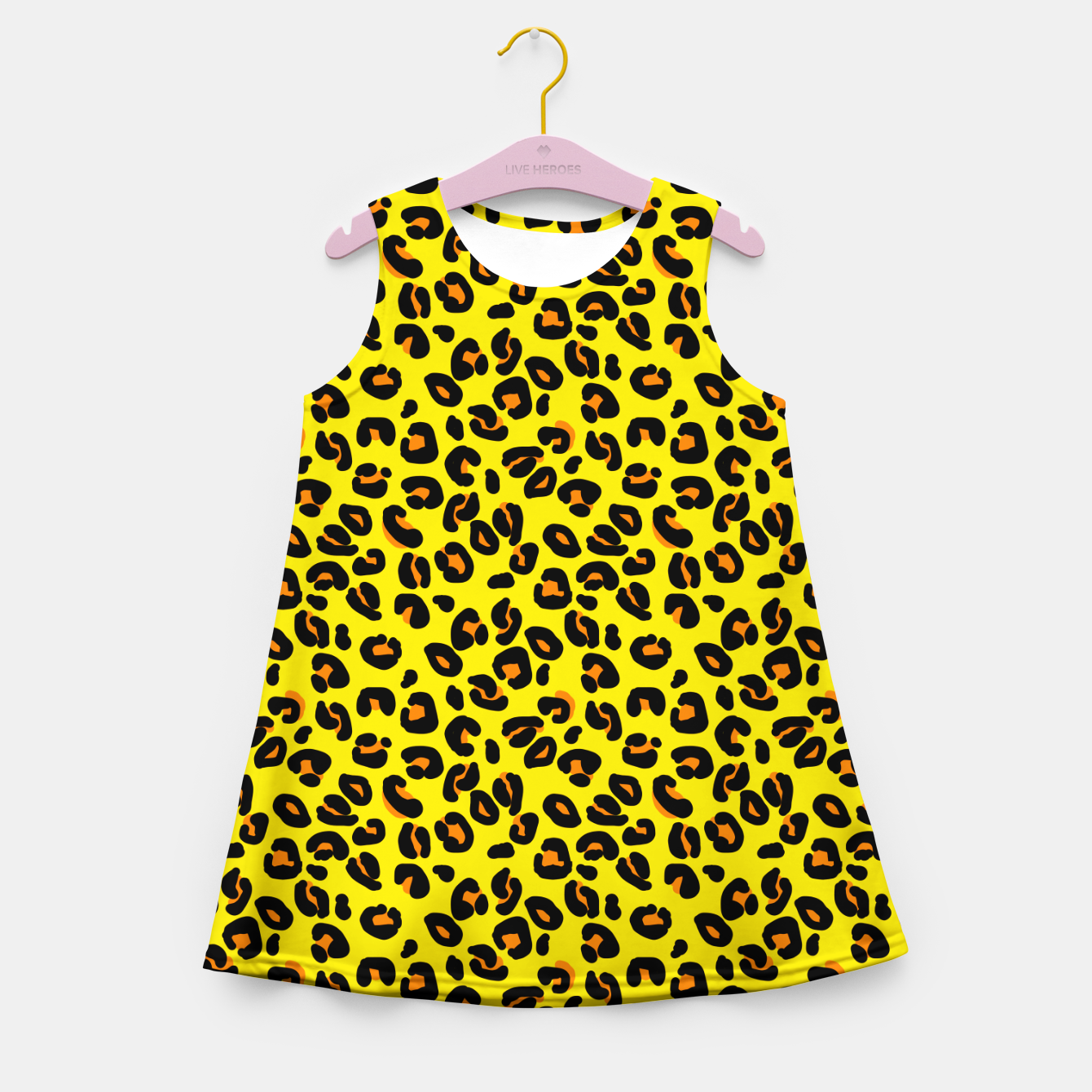 Imagen de Lemon Yellow Leopard Spots Animal Print Pattern Girl's summer dress - Live Heroes