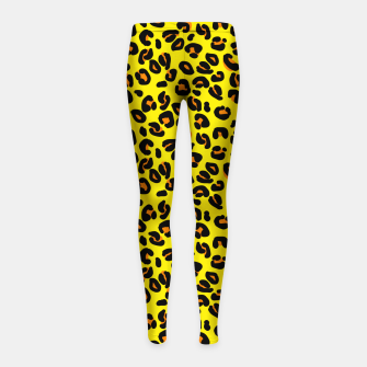 Lemon Yellow Leopard Spots Animal Print Pattern Girl's leggings imagen en miniatura
