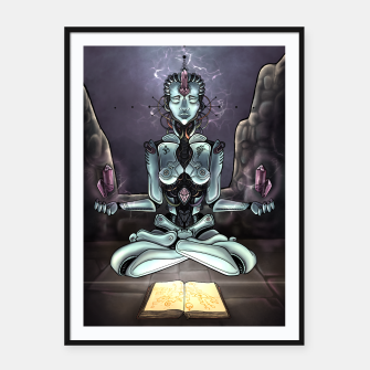 Thumbnail image of Meditating Android Framed poster, Live Heroes
