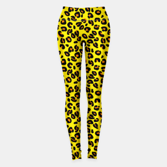 Lemon Yellow Leopard Spots Animal Print Pattern Leggings imagen en miniatura