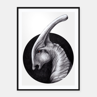 Thumbnail image of Albino Parasaurolophus Framed poster, Live Heroes