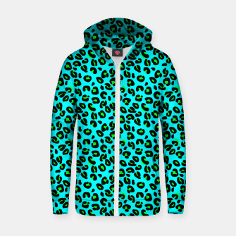 Thumbnail image of Aqua Leopard Spots Animal Print Pattern Zip up hoodie, Live Heroes