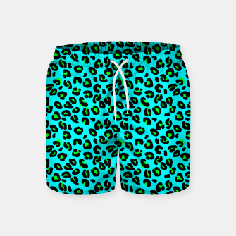 Thumbnail image of Aqua Leopard Spots Animal Print Pattern Swim Shorts, Live Heroes