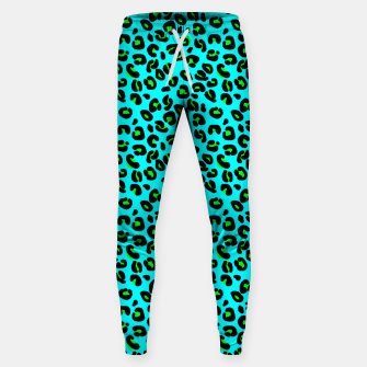 Thumbnail image of Aqua Leopard Spots Animal Print Pattern Sweatpants, Live Heroes