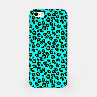 Aqua Leopard Spots Animal Print Pattern iPhone Case imagen en miniatura