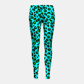 Thumbnail image of Aqua Leopard Spots Animal Print Pattern Girl's leggings, Live Heroes