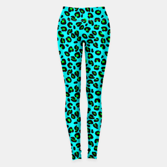 Thumbnail image of Aqua Leopard Spots Animal Print Pattern Leggings, Live Heroes