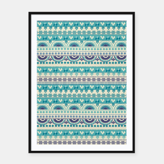 Thumbnail image of Tribal Pattern - 03 Light Blue Framed poster, Live Heroes