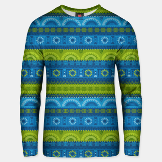 Thumbnail image of Tribal Pattern - 04 Lime Blue Unisex sweater, Live Heroes