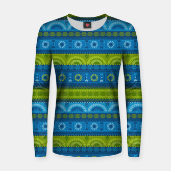 Thumbnail image of Tribal Pattern - 04 Lime Blue Women sweater, Live Heroes