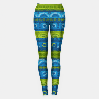 Thumbnail image of Tribal Pattern - 04 Lime Blue Leggings, Live Heroes