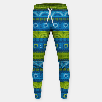 Thumbnail image of Tribal Pattern - 04 Lime Blue Sweatpants, Live Heroes