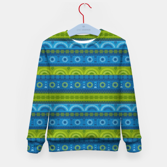 Thumbnail image of Tribal Pattern - 04 Lime Blue Kid's sweater, Live Heroes