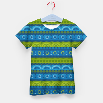 Thumbnail image of Tribal Pattern - 04 Lime Blue Kid's t-shirt, Live Heroes