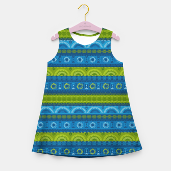 Thumbnail image of Tribal Pattern - 04 Lime Blue Girl's summer dress, Live Heroes