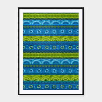 Thumbnail image of Tribal Pattern - 04 Lime Blue Framed poster, Live Heroes