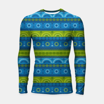 Thumbnail image of Tribal Pattern - 04 Lime Blue Longsleeve rashguard , Live Heroes