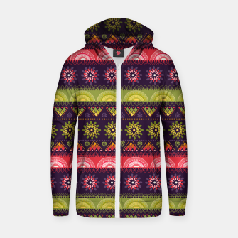 Thumbnail image of Tribal Pattern - 05 Lime Red Zip up hoodie, Live Heroes