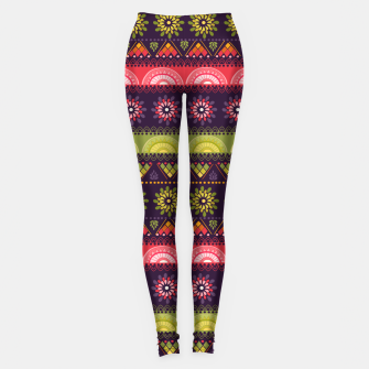 Thumbnail image of Tribal Pattern - 05 Lime Red Leggings, Live Heroes