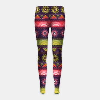 Thumbnail image of Tribal Pattern - 05 Lime Red Girl's leggings, Live Heroes