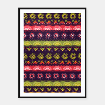Thumbnail image of Tribal Pattern - 05 Lime Red Framed poster, Live Heroes