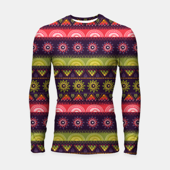 Thumbnail image of Tribal Pattern - 05 Lime Red Longsleeve rashguard , Live Heroes