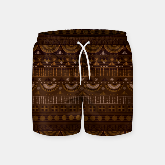 Thumbnail image of Tribal Pattern - 08 Dark Brown Swim Shorts, Live Heroes