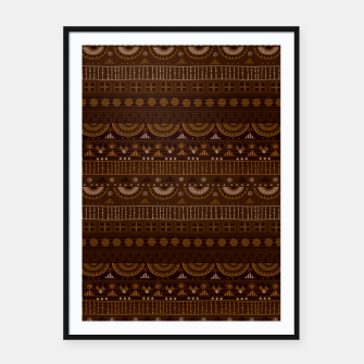 Thumbnail image of Tribal Pattern - 08 Dark Brown Framed poster, Live Heroes