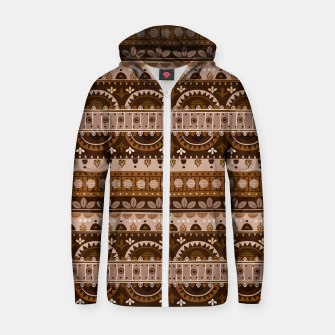 Tribal Pattern - 09 Light Brown Zip up hoodie thumbnail image