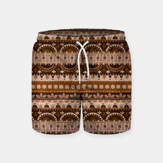 Thumbnail image of Tribal Pattern - 09 Light Brown Swim Shorts, Live Heroes
