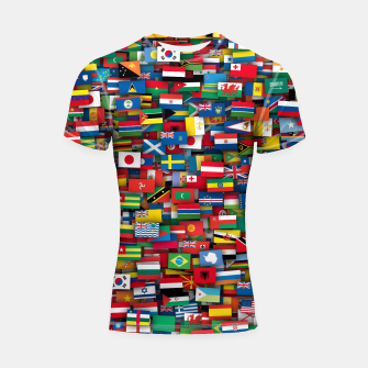 Miniatur Flags of all countries of the world Shortsleeve rashguard, Live Heroes