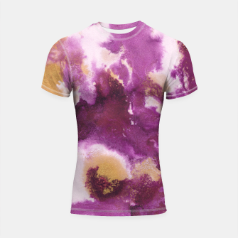 Pink Gold Abstract Painting #1 #ink #decor #art  Shortsleeve rashguard obraz miniatury