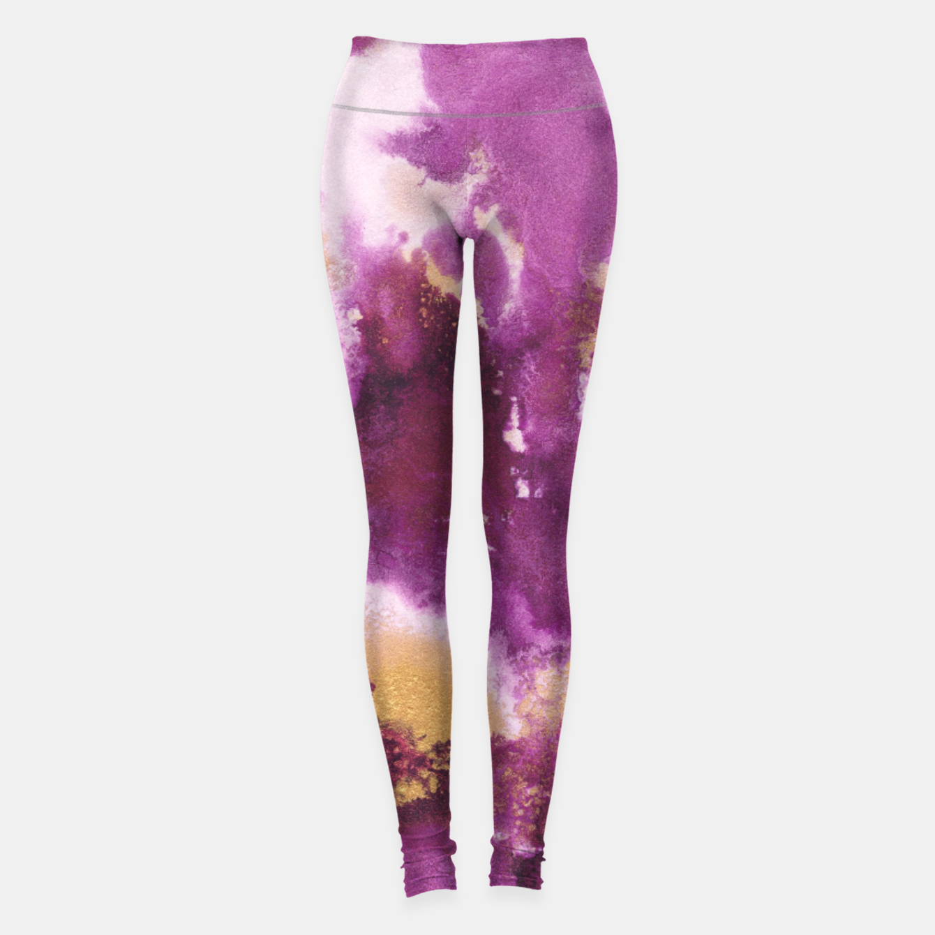 Zdjęcie Pink Gold Abstract Painting #1 #ink #decor #art  Leggings - Live Heroes
