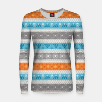 Thumbnail image of Tribal Pattern - 12 Orange Blue Stripe Women sweater, Live Heroes