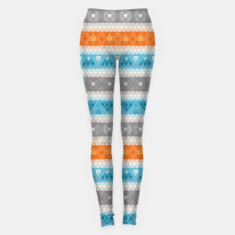 Thumbnail image of Tribal Pattern - 12 Orange Blue Stripe Leggings, Live Heroes
