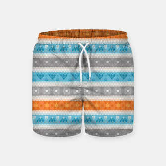 Thumbnail image of Tribal Pattern - 12 Orange Blue Stripe Swim Shorts, Live Heroes