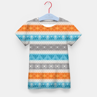 Thumbnail image of Tribal Pattern - 12 Orange Blue Stripe Kid's t-shirt, Live Heroes