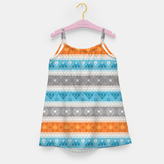 Thumbnail image of Tribal Pattern - 12 Orange Blue Stripe Girl's dress, Live Heroes