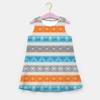 Thumbnail image of Tribal Pattern - 12 Orange Blue Stripe Girl's summer dress, Live Heroes
