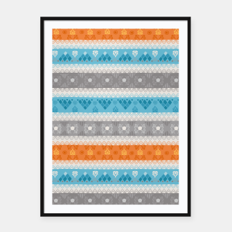 Thumbnail image of Tribal Pattern - 12 Orange Blue Stripe Framed poster, Live Heroes