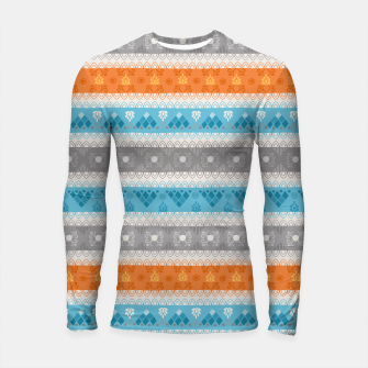 Thumbnail image of Tribal Pattern - 12 Orange Blue Stripe Longsleeve rashguard , Live Heroes