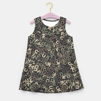 Thumbnail image of four camouflage letters Girl's summer dress, Live Heroes