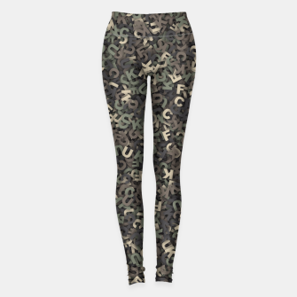 Thumbnail image of four camouflage letters Leggings, Live Heroes