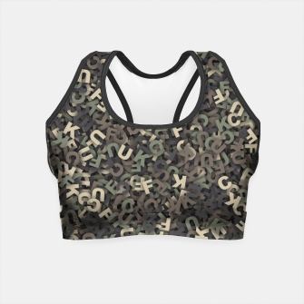 Thumbnail image of four camouflage letters Crop Top, Live Heroes