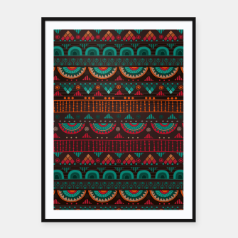 Thumbnail image of Tribal Pattern - 14 Red Green Framed poster, Live Heroes